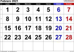Calendario febrero 2021, orientación horizontal, grandes cifras, en formatos Word, Excel y PDF