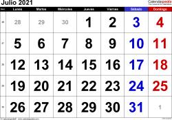 Calendario julio 2021, orientación horizontal, grandes cifras, en formatos Word, Excel y PDF