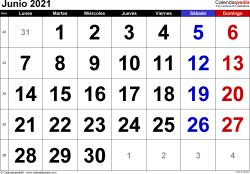 Calendario junio 2021, orientación horizontal, grandes cifras, en formatos Word, Excel y PDF