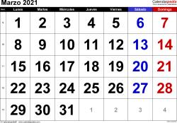 Calendario marzo 2021, orientación horizontal, grandes cifras, en formatos Word, Excel y PDF