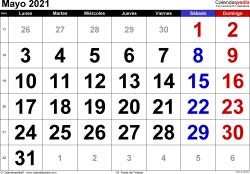 Calendario mayo 2021, orientación horizontal, grandes cifras, en formatos Word, Excel y PDF