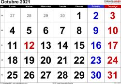 Calendario octubre 2021, orientación horizontal, grandes cifras, en formatos Word, Excel y PDF