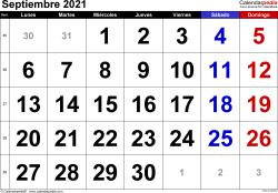 Calendario septiembre 2021, orientación horizontal, grandes cifras, en formatos Word, Excel y PDF