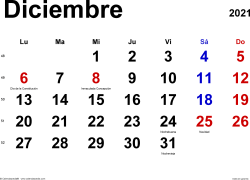 Calendario diciembre 2021, orientación horizontal, clásico, en formatos Word, Excel y PDF