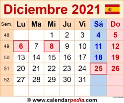 Calendario diciembre 2021 como una imagen en formato PNG
