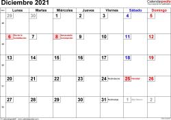 Calendario diciembre 2021, orientación horizontal, cifras pequeñas, en formatos Word, Excel y PDF