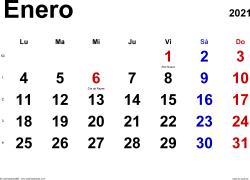 Calendario enero 2021, orientación horizontal, clásico, en formatos Word, Excel y PDF