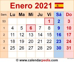 Calendario enero 2021 como una imagen en formato PNG