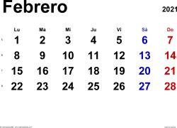 Calendario febrero 2021, orientación horizontal, clásico, en formatos Word, Excel y PDF