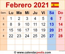 Calendario febrero 2021 como una imagen en formato PNG
