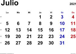 Calendario julio 2021, orientación horizontal, clásico, en formatos Word, Excel y PDF