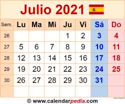 Calendario julio 2021 como una imagen en formato PNG