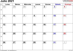 Calendario julio 2021, orientación horizontal, cifras pequeñas, en formatos Word, Excel y PDF