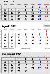 Calendario de 3 meses de julio/agosto/septiembre 2021 in orientación vertical en formatos Word, Excel y PDF