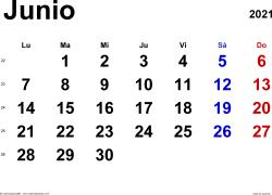 Calendario junio 2021, orientación horizontal, clásico, en formatos Word, Excel y PDF