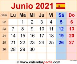 Calendario junio 2021 como una imagen en formato PNG