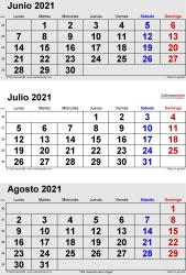 Calendario de 3 meses de junio/julio/agosto 2021 in orientación vertical en formatos Word, Excel y PDF