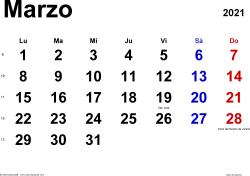 Calendario marzo 2021, orientación horizontal, clásico, en formatos Word, Excel y PDF