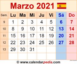 Calendario marzo 2021 como una imagen en formato PNG