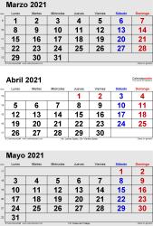 Calendario de 3 meses de marzo/abril/mayo 2021 in orientación vertical en formatos Word, Excel y PDF