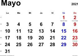 Calendario mayo 2021, orientación horizontal, clásico, en formatos Word, Excel y PDF