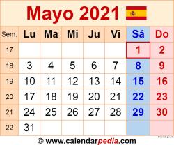 Calendario mayo 2021 como una imagen en formato PNG