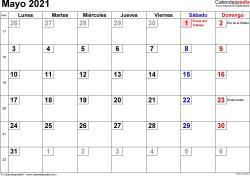Calendario mayo 2021, orientación horizontal, cifras pequeñas, en formatos Word, Excel y PDF