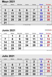 Calendario de 3 meses de mayo/junio/julio 2021 in orientación vertical en formatos Word, Excel y PDF