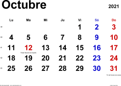 Monthly calendar templates for October 2021 for Spain in Microsoft Word format