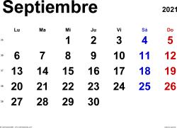Calendario septiembre 2021, orientación horizontal, clásico, en formatos Word, Excel y PDF