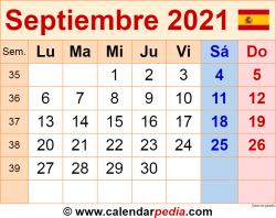 Calendario septiembre 2021 como una imagen en formato PNG