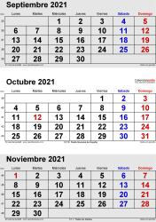 Calendario de 3 meses de septiembre/octubre/noviembre 2021 in orientación vertical en formatos Word, Excel y PDF