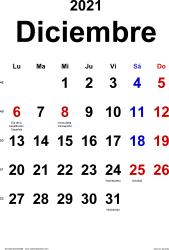 Calendario diciembre 2021, orientación vertical, clásico, en formatos Word, Excel y PDF
