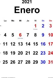 Calendario enero 2021, orientación vertical, clásico, en formatos Word, Excel y PDF