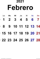Calendario febrero 2021, orientación vertical, clásico, en formatos Word, Excel y PDF