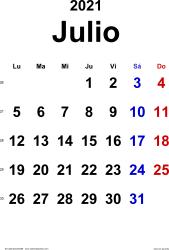 Calendario julio 2021, orientación vertical, clásico, en formatos Word, Excel y PDF