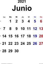 Calendario junio 2021, orientación vertical, clásico, en formatos Word, Excel y PDF