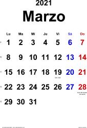 Calendario marzo 2021, orientación vertical, clásico, en formatos Word, Excel y PDF