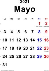 Calendario mayo 2021, orientación vertical, clásico, en formatos Word, Excel y PDF