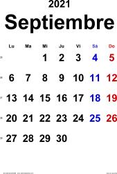 Calendario septiembre 2021, orientación vertical, clásico, en formatos Word, Excel y PDF