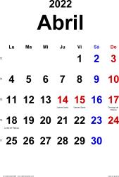 Calendario abril 2022, orientación vertical, clásico, en formatos Word, Excel y PDF