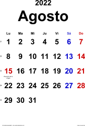 Calendario agosto 2022, orientación vertical, clásico, en formatos Word, Excel y PDF