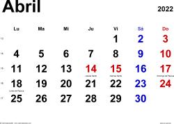 Calendario abril 2022, orientación horizontal, clásico, en formatos Word, Excel y PDF