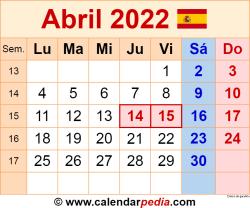 Calendario abril 2022 como una imagen en formato PNG