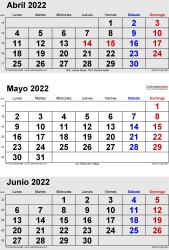 Calendario de 3 meses de abril/mayo/junio 2022 in orientación vertical en formatos Word, Excel y PDF