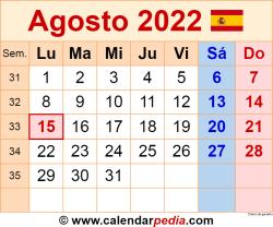 Calendario agosto 2022 como una imagen en formato PNG