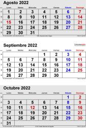 Calendario de 3 meses de agosto/septiembre/octubre 2022 in orientación vertical en formatos Word, Excel y PDF