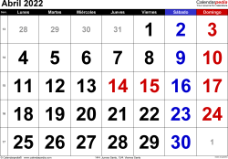 Calendario abril 2022, orientación horizontal, grandes cifras, en formatos Word, Excel y PDF