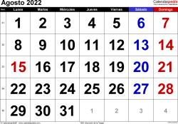 Calendario agosto 2022, orientación horizontal, grandes cifras, en formatos Word, Excel y PDF