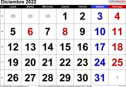 Calendario diciembre 2022, orientación horizontal, grandes cifras, en formatos Word, Excel y PDF